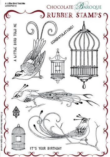 Chocolate Baroque A Little Bird Told Me Rubber Stamp